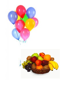 10 Air filled balloons with 1 Kg Fresh fruits basket