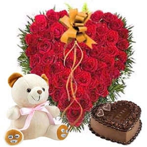 50 Heart shaped roses with 1 kilo cake and teddy