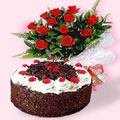 1/2 Kg. Black Forest Cake with 12 Lovely Dutch Rose