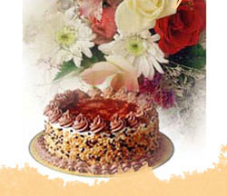 yellow gerberas in a basket+1/2 kg. Chocolate Cake+12 candles