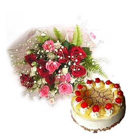 30 roses bunch, 1 kg pineapple cake