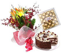 24 Mix flowers bouquet 1 kg cake, 24 pieces Chocolates