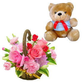 16 ferrero Chocolates, 24 Roses flowers basket, Teddy