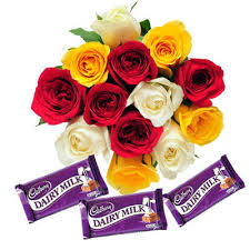 12 mix roses and 3 dairy milk chocolates