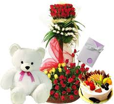 3 feet 60 roses arrangement 1/2 fruit cake, card and teddy